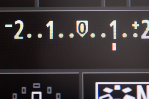 Exposure compensation setting on the camera's rear LCD