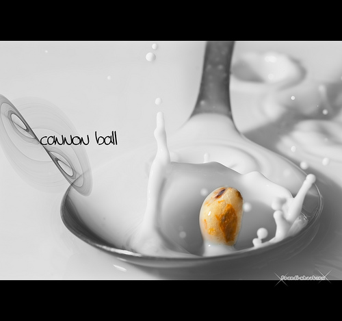 Piece of cereal splashing into a bowl of milk - manual focus used