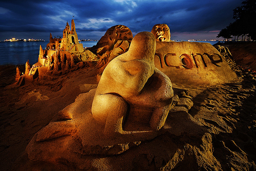 Light painted sand sculptures on the beach - long exposure photos like this require a steady tripod
