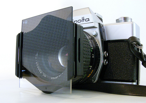 Camera with a filter holder and filter attached - many compact cameras have no way to attach filters