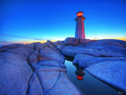 lighthouse at peggy's cove during the blue hour