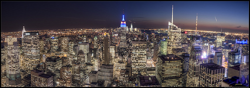 New York city view from the Rockefeller center at twilight hdr panorama