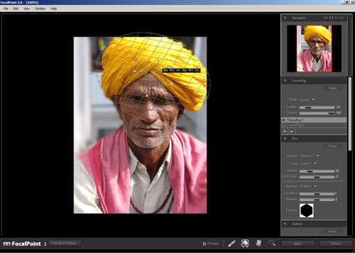 Image after placing a focus bug to get the turban in focus