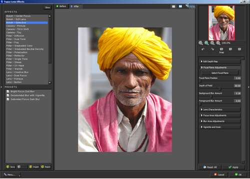Making the focal plane adjustments in Topaz Lens Effects