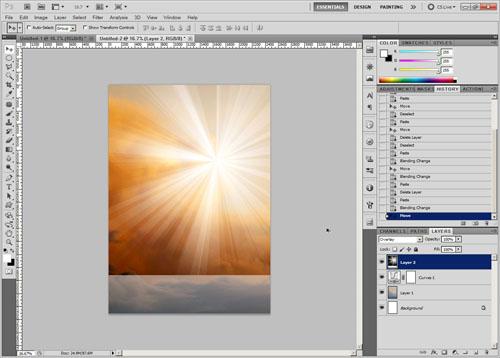 Change blend mode and position of sunburst layer