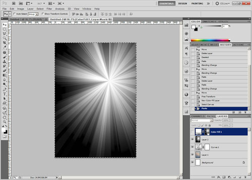 Copy sunburst then go to color fill mask and paste