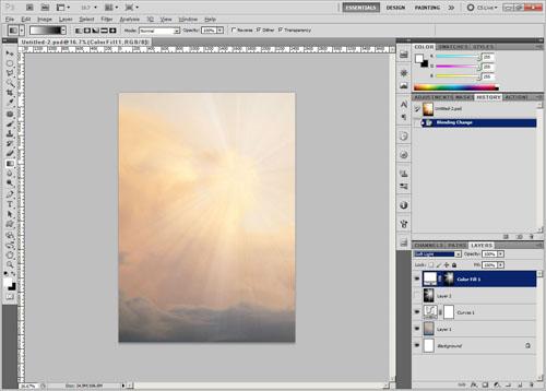 Set color fill layer to soft light blend mode