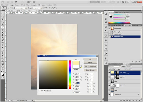Sunbeams color fill layer duplicated with yellow color