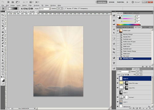 New layer in overlay blend mode