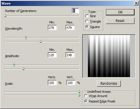 Photoshop Wave Filter Dialog
