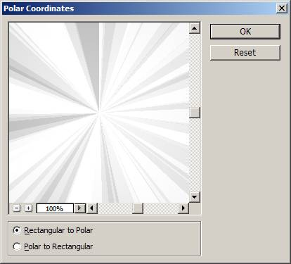 Photoshop Polar coordinates filter dialog