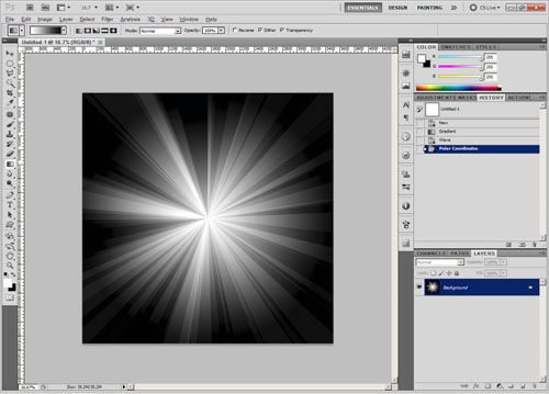 Image after applying polar coordinates filter
