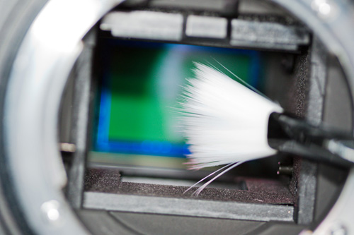 Cleaning the camera sensor