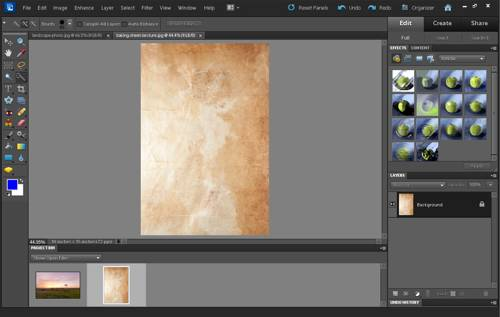 Texture image and photo open in Photoshop Elements
