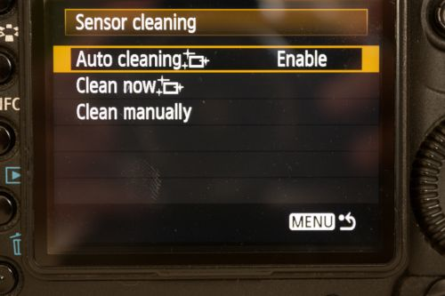 Sensor auto cleaning setting enabled on a Canon camera