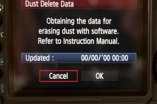Dust Delete Data screen on a Canon camera