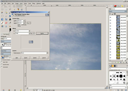 Resizing the canvas in GIMP