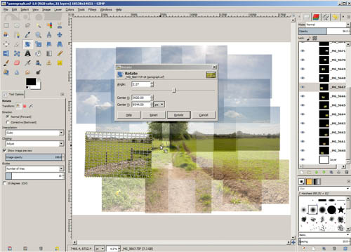 Using the rotate tool in GIMP