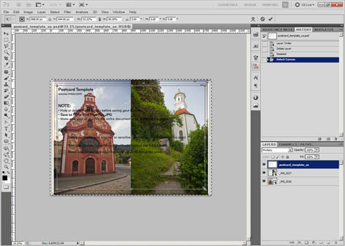 Resizing the selection to add a border round the edge of the postcard