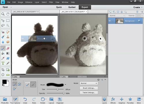 Drag one image as a layer into the other image