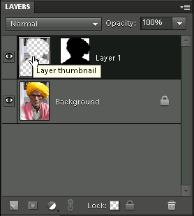 Selecting the layer by clicking on the layer thumbnail
