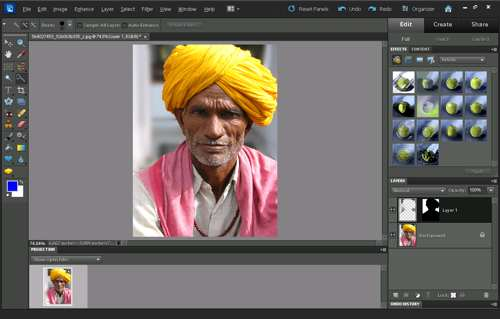 Blur applied to background layer