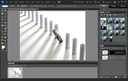 Dragging with the gradient tool to create a gradient in Photoshop Elements