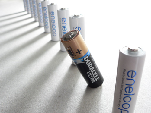 Photo of batteries taken using a camera with a small image sensor, at the camera's widest focal length (zoomed out), and with the camera very close to the subject