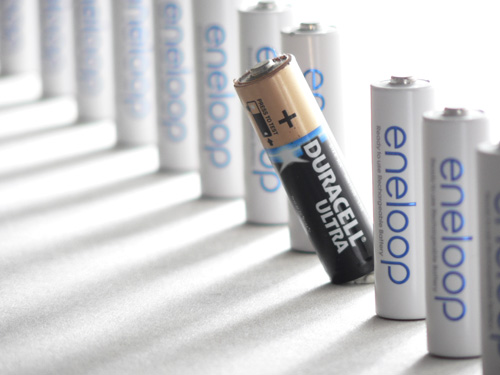 Photo of batteries taken using a camera with a small image sensor, at the camera's maximum focal length (zoom)