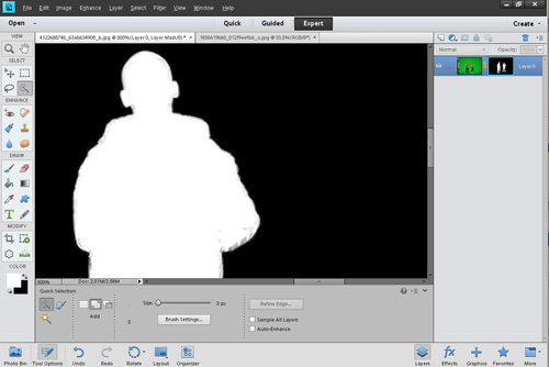 Viewing the created layer mask