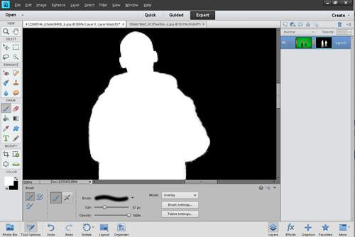 After adjusting mask using paintbrush in overlay blend mode