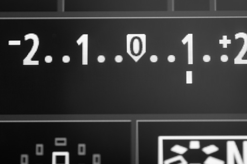 Rear LCD of a Canon camera showing the exposure scale with +1EV of exposure compensation applied