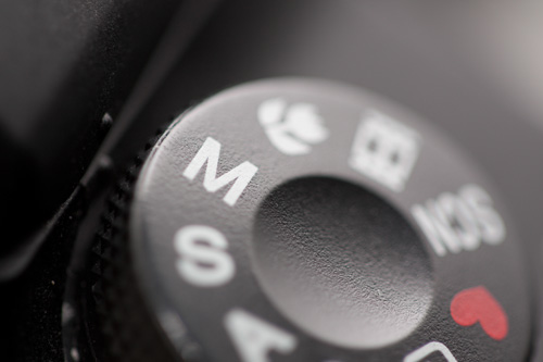 Manual exposure mode indicated by M on camera mode dial