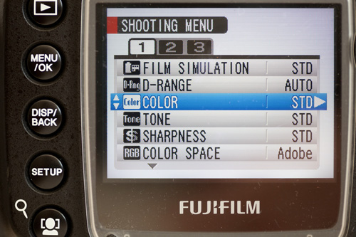 Image settings screen on camera