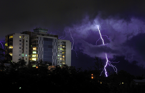 Electrical storm over Brisbane