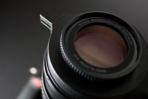 Raynox DCR-250 close-up diopter lens - this lens is quite small and uses a clip adapter to attach the camera's lens