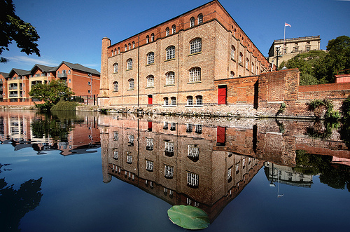 Victorian warehouse with reflection in Nottingham canal