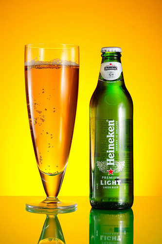 Heineken product shot with clean reflection