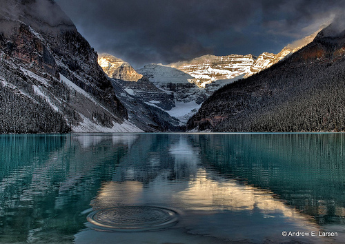 Lake Louise Mountains with reflection