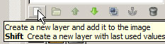 New layer icon at bottom of layer palette