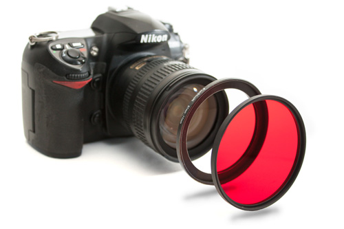 Stepping ring screws onto camera, filter screws onto stepping ring