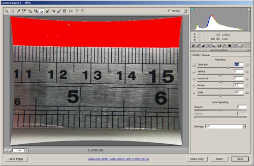 Image with pincushion distortion added to remove barrel distortion in ACR