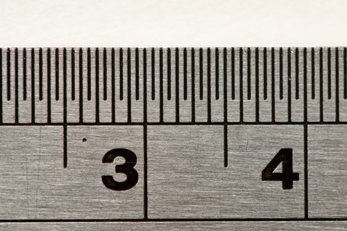 Image of a ruler taken with a DSLR that has an APS-C sized image sensor. The magnification ratio the image was captured at was 1:1