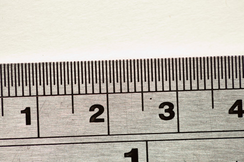 Image of a ruler taken with a DSLR that has an full frame 35mm size image sensor. The magnification ratio the image was captured at was 1:1