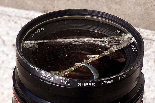Smashed UV filter protected lens from damage