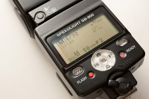 Flash controls on a Nikon SB-800 speedlight flash