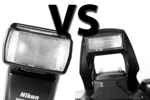 Speedlight flash vs. Pop up flash