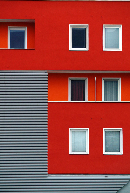 Photo of the rectangular shapes created by windows and cladding on a building