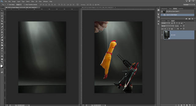 Images of background and toys before compositing together