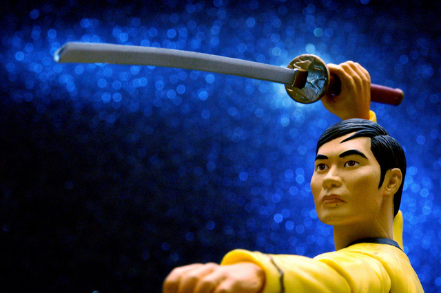 Edge Of Space - Close-up photo of a Sulu action figure holding a katana